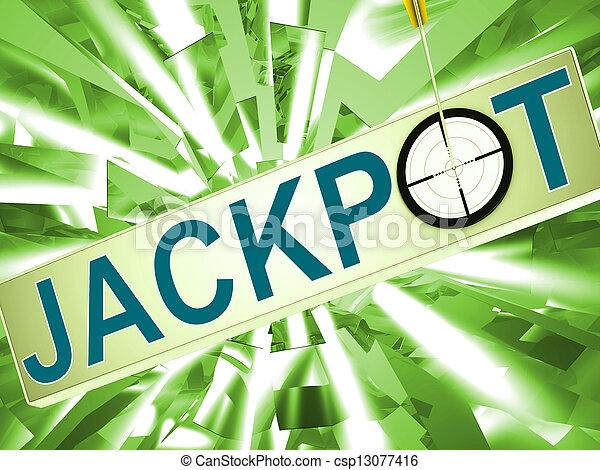 Jackpot Shows Lucky Winner Gambling In Vegas - csp13077416