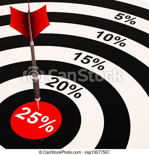 25 Percent On Dartboard Shows Selected Discounts - csp13077567