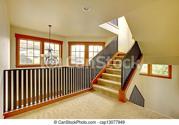 Stock foto van trap metaal hek nieuw luxe thuis interieur csp13077949 zoek naar stock - Model interieur trap ...
