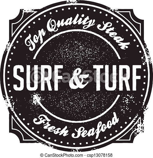 Turf N Surf >> Clipart Vector of Classic Surf and Turf Menu Stamp - Steak and seafood, the... csp13078158 ...