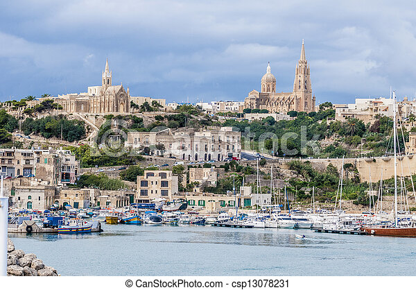 Parish church in Mgarr, on the eastern coast of the maltese Island of Gozo. - csp13078231