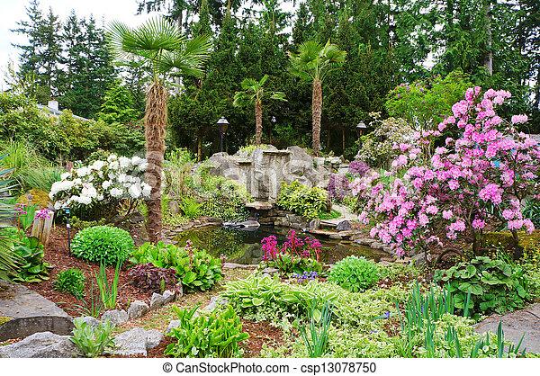 Spring American Northwest home landscape garden. - csp13078750