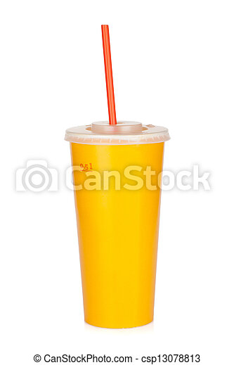 Fast food drink with straw - csp13078813