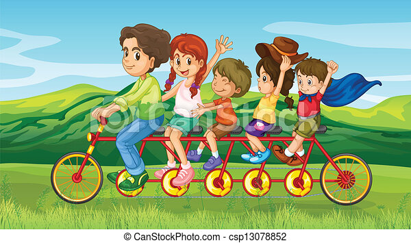 Bicycle Kids Drawing a Man Riding a Bike With Four