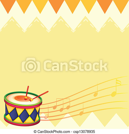 A musical drum with musical notes - csp13078935