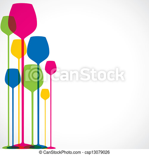 Vector Illustration of colorful wine glass background - colorful ...