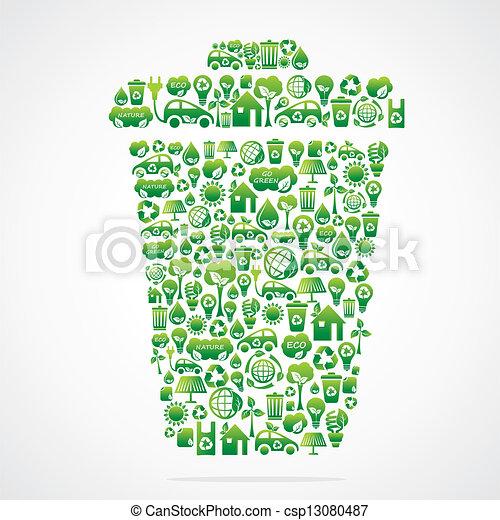 dustbin design with eco green icon  - csp13080487