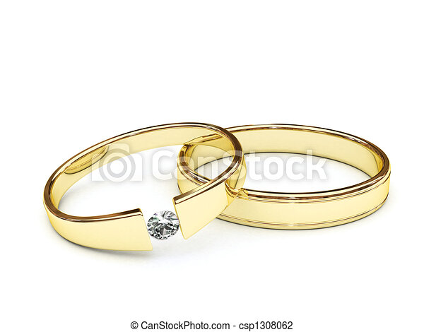Gold rings with diamond - csp1308062