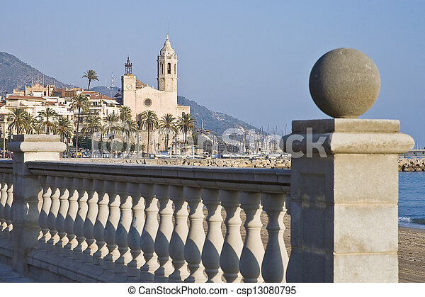 Sant Bartomeu i Santa Tecla church at Sitges, Spain - csp13080795