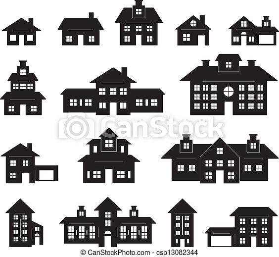 vecteur eps de maison blanc noir maison noir et blanc csp13082344 recherchez des images. Black Bedroom Furniture Sets. Home Design Ideas