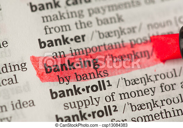 Banking definition highlighted in red - csp13084383