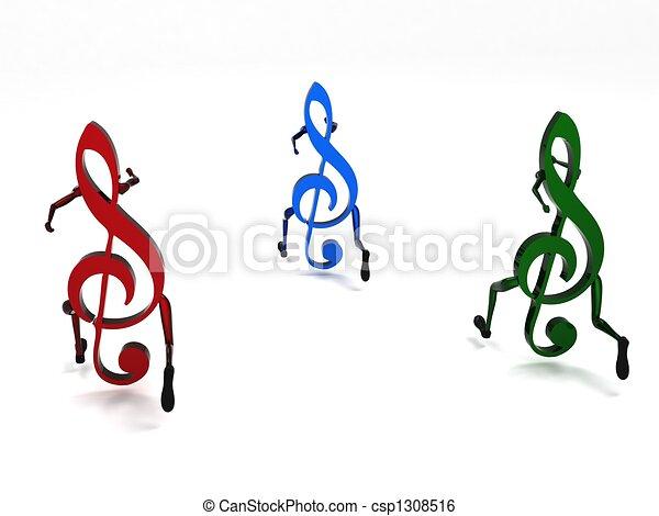 three dimensional musical notes - csp1308516