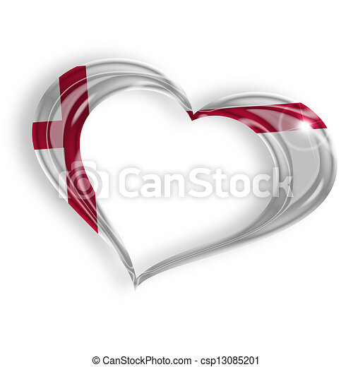 heart with english flag colors on white background - csp13085201
