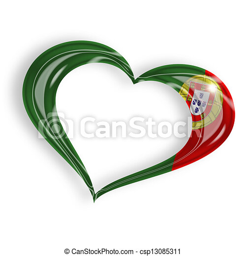 heart with portuguese flag colors on white background - csp13085311