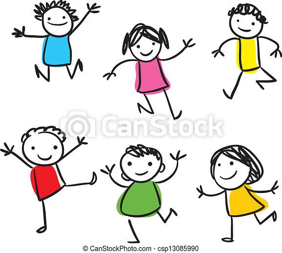 EPS vectores de feliz, niños, Saltar - vector, dibujo, sonriente ...