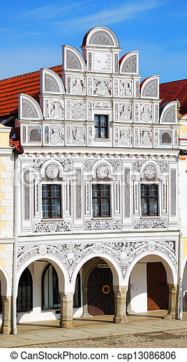Historic house in Telc with sgraffiti decorations - csp13086806