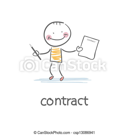 Person signs the contract. Illustration. - csp13086941