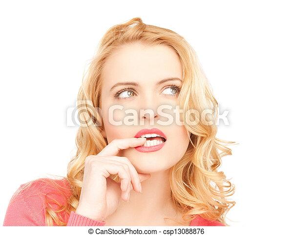 beautiful pensive woman - csp13088876