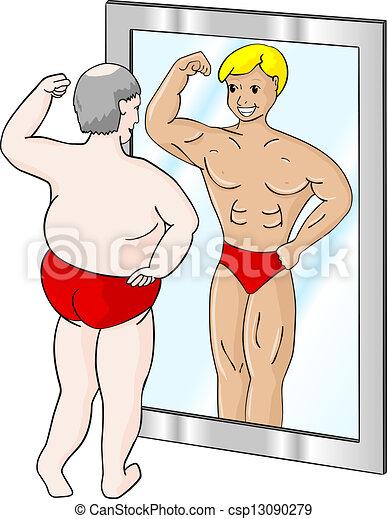 Vektoren illustration von muskel dicker mann a dicker for Spiegel cartoon