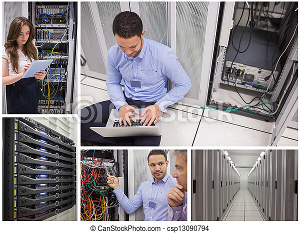 Collage of data center workers - csp13090794