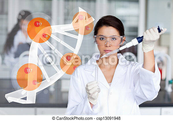 Pretty lab worker adding chemical t - csp13091948