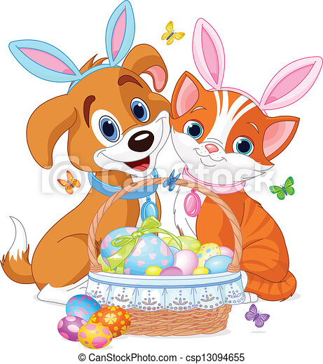 Easter Cat and Dog - csp13094655
