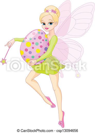Fairy flying with Easter egg - csp13094656