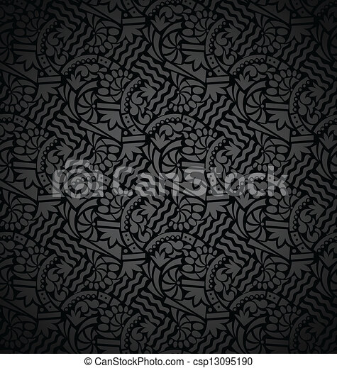 Seamless abstract floral wallpaper - csp13095190