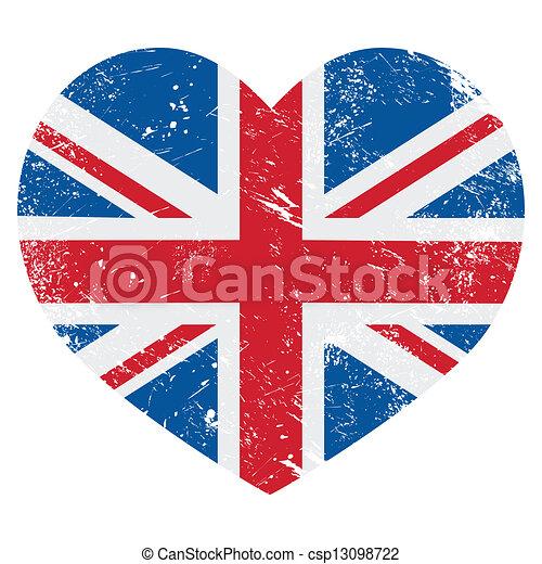 UK Great Britain retro heart flag  - csp13098722