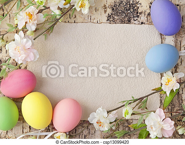 Easter eggs and blank note - csp13099420