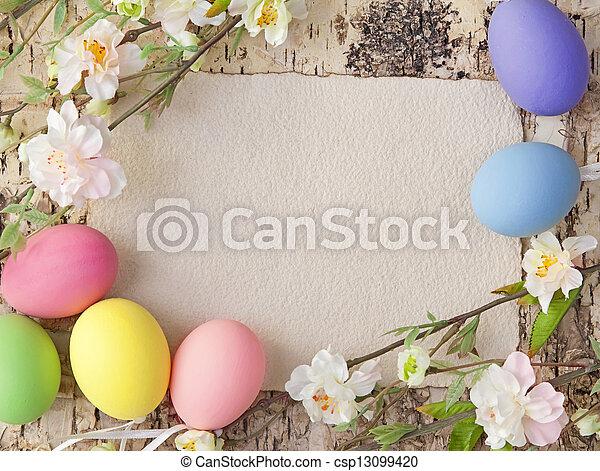 merkzettel, Eier, Ostern, leer - csp13099420