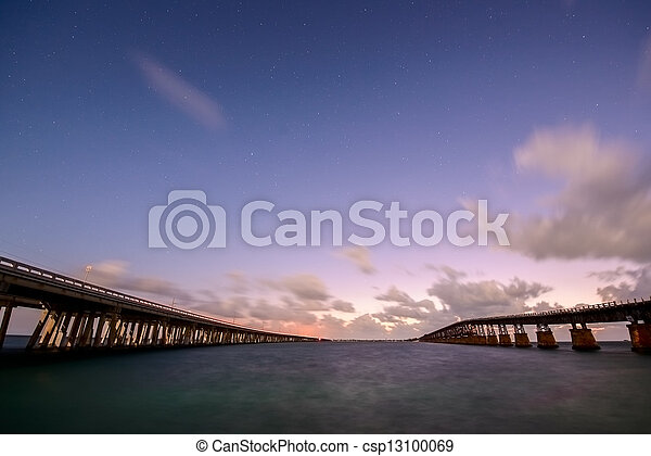 Bridges of Florida Keys under night sky - csp13100069