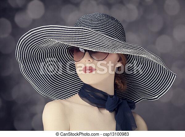 Fashion women in wide hat - csp13100983