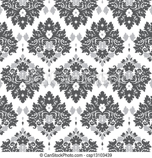 Vettori di grigio damasco seamless damasco carta da for Carta da parati disegni
