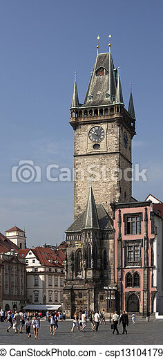 Prague - Historic Old City Hall and tower - csp13104179