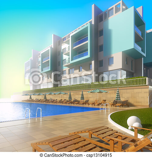 Clipart of swimming pool and modern hotel a 3d for Swimming pool drawing