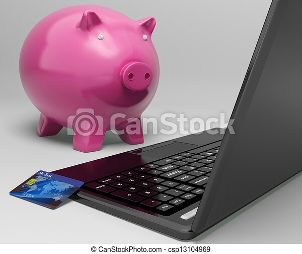 Piggy At Computer Shows Investment Growth Banking - csp13104969