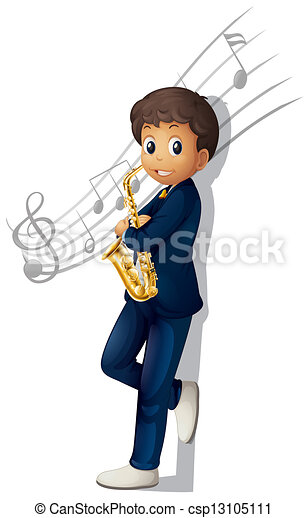 A musician holding a saxophone with musical notes - csp13105111