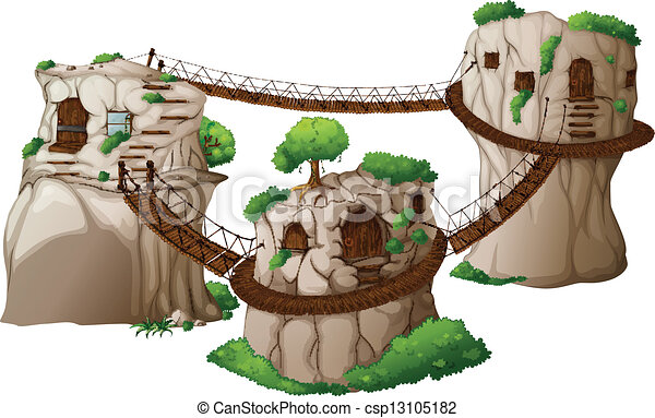 Tree houses with hanging bridges - csp13105182
