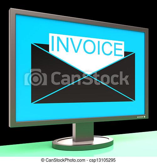 stock illustration von rechnung in briefkuvert auf monitor ausstellung csp13105295. Black Bedroom Furniture Sets. Home Design Ideas