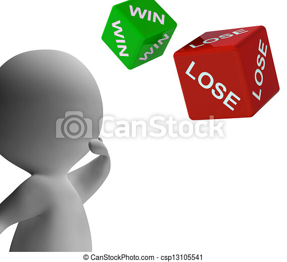 Win Lose Dice Shows Gambling - csp13105541