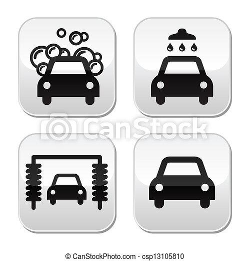 Vector Clip Art of Car wash buttons set - vector - Modern grey ...