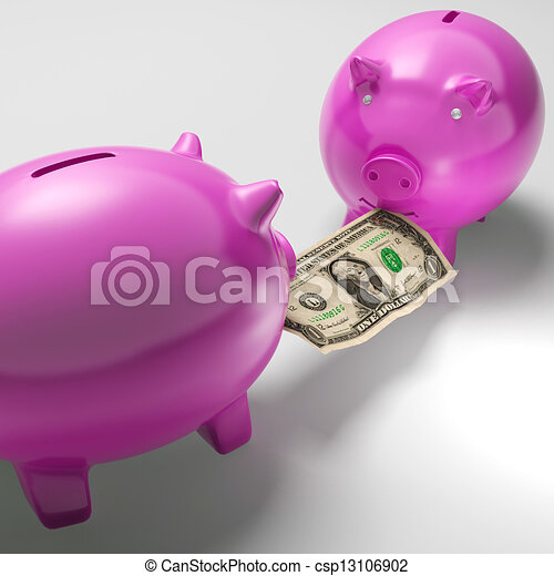 Piggybanks Fighting Over Money Showing Banking Problems - csp13106902