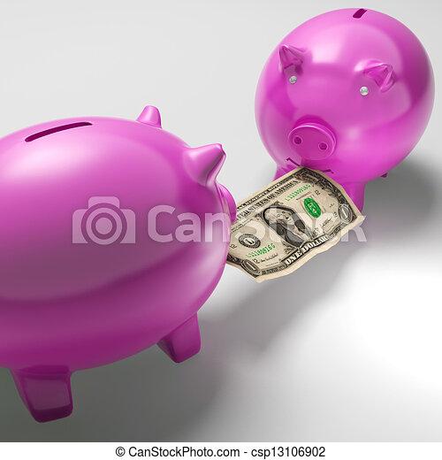 Piggybanks Fighting Over Money Showing Banking Problems - csp13106902
