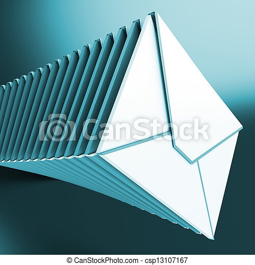 Piled Envelopes Shows Inbox Messages On Computer - csp13107167