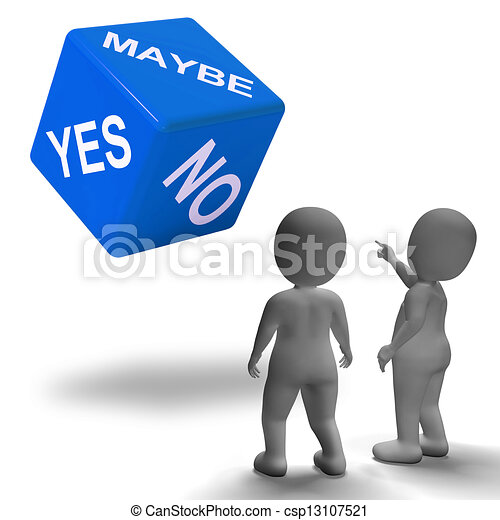 Clip Art of Maybe Yes No Dice Represents Uncertainty And Decisions ...