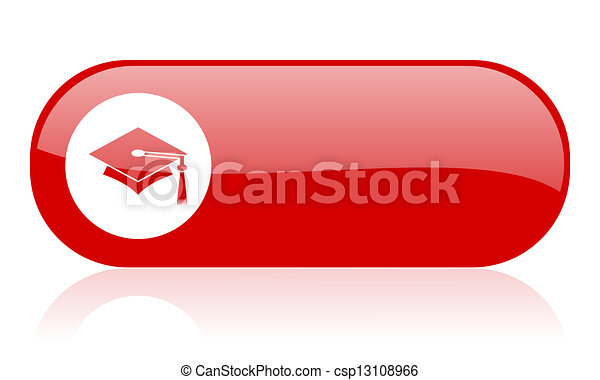 graduation red web glossy icon  - csp13108966