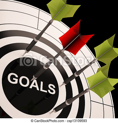 Goals On Dartboard Shows Aspired Objectives - csp13109593