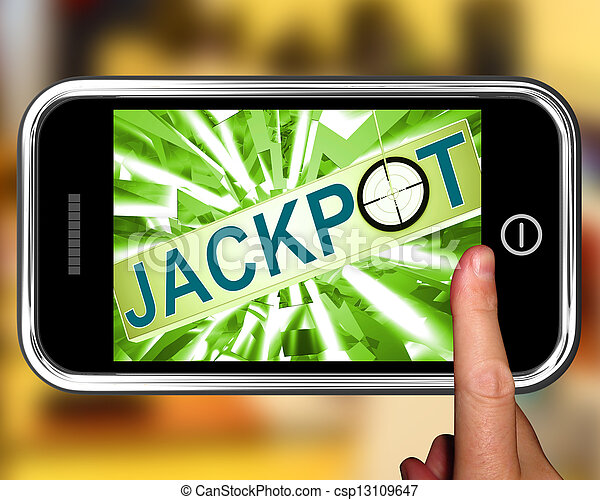 Jackpot On Smartphone Showing Target Gambling - csp13109647