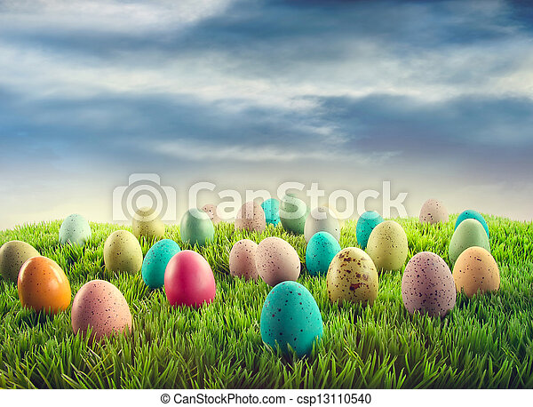 Easter eggs in grass  - csp13110540